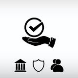 Tick with hand icon, vector illustration. Flat design style Royalty Free Stock Photo
