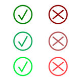 Tick icon set. Stylish check mark icon set in green and red color, vector Stock Photos
