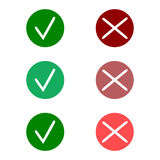 Tick icon set. Stylish check mark icon set in green and red color, vector Royalty Free Stock Images