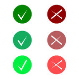 Tick icon set. Stylish check mark icon set in green and red color, vector  Royalty Free Stock Image