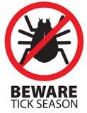 Tick Insect Season Beware Warning Logo Sign Icon illustrazione di stock