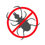 Tick insect silhouette. Mite deer ticks icon. Dangerous black parasite. Prohibition no symbol Red round stop warning sign. White b Royalty Free Stock Photography