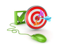 Tick mark, green mouse and dartboard. Stock Photography