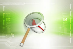 Tick mark with magnifier Stock Photography