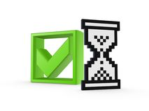 Tick mark and sandglass icon. Stock Image