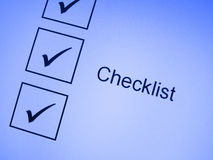 Tick marks on checklist Stock Photo
