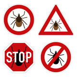 Tick parasite warning sign Stock Photo