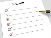 Tick placed in check box with fountain pen Stock Image