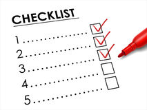 Tick placed in check box with red pen Royalty Free Stock Photography