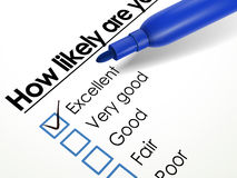 Tick placed in excellent check box with blue pen Stock Photo