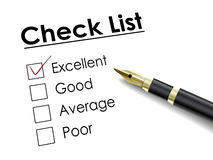 Tick placed in excellent check box with fountain pen Stock Image