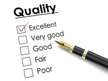Tick placed in excellent check box with fountain pen Stock Photography