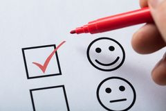 Free Tick Placed In Customer Service Satisfaction Survey Form Royalty Free Stock Images - 124750519
