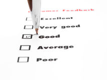 Tick placed you select choice.  excellent,very good,good,average Royalty Free Stock Photo