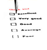 Tick placed you select choice.  excellent,very good,good,average Royalty Free Stock Images