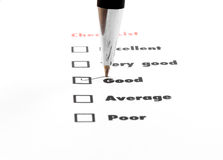 Tick placed you select choice.  excellent,very good,good,average Stock Photography