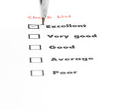 Tick placed you select choice.  excellent,very good,good,average Stock Images