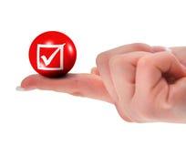 Tick sign on finger shallow DOF Royalty Free Stock Photo