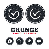 Tick sign icon. Check mark symbol. Grunge post stamps. Tick sign icon. Check mark symbol. Information, download and printer signs. Aged texture web buttons Stock Photography