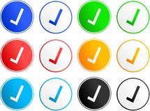 Tick sign icons. Collection of tick sign icons isolated on white Stock Images