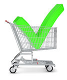 Tick sign in shopping cart Stock Photos