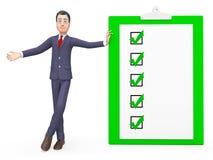 Tick Symbol And Affirmation 3d för hjälpmedel för kontrollfläckar tolkning Royaltyfri Bild
