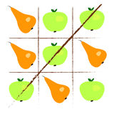 Tick-tack-toe with apples and pears Royalty Free Stock Photography