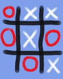 Tick Tack Toe. Crudely drawn by hand in bright colors Royalty Free Stock Photo
