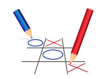 Tick tack toe illustration. Two pencils playing tic-tac-toe - Vector Illustration vector illustration