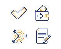 Tick, Target and Wallet icons set. Article sign. Confirm check, Targeting, Money payment. Feedback. Vector. Tick, Target and Wallet icons simple set. Article stock illustration