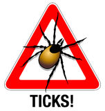Tick warning. Illustration of a tick warning sign Stock Photo