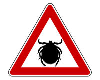 Tick warning sign Royalty Free Stock Images