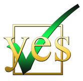 Tick Yes. An Illustration of a tick box marked yes Stock Photo