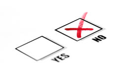 Tickbox Yes/No. Tickbox, marked No, selective focus Stock Images