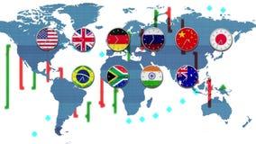 Ticker grafiek met wereldforex effectenbeursklokken die in echte - de aardekaart van tijdzoneshud op achtergrond gaan - nieuwe kw stock illustratie