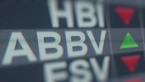 Ticker van de Abbvieabbv voorraad, conceptuele redactie loopable animatie stock video