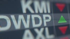 Ticker van de Dowdupontdwdp voorraad op het scherm Redactie loopable animatie stock footage
