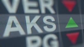 Ticker van de de Holdingsaks voorraad van het Akstaal, conceptuele redactie loopable animatie stock video