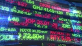 Tickers de marché boursier - fond d'affichage de données numériques banque de vidéos
