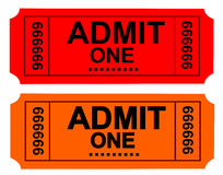 Ticket. Photo of a Admit One Ticket and cinema ticket series Royalty Free Stock Images