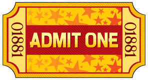 Ticket. Admit one, admit one ticket Royalty Free Stock Photography