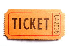 The ticket. An entrance ticket in closeup on a white background Royalty Free Stock Photo