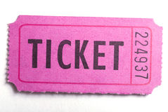 The ticket. An entrance ticket in closeup on a white background Stock Photo