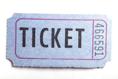 The ticket. An entrance ticket in closeup on a white background Stock Images