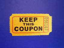 Ticket. A yellow coupon for verifying winners of lucky drawings stock image