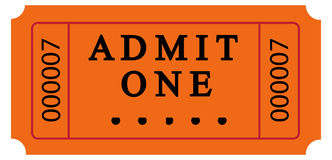 Ticket. Isolated ticket with admit one word Royalty Free Stock Photo