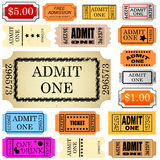 Ticket admit one. Set of ticket admit one vector Stock Photography