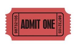 Ticket admit one concept 3d illustration. Ticket admit one 3d illustration isolated on white background Stock Image
