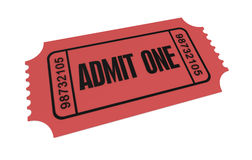 Ticket admit one concept illustration. Ticket admit one 3d illustration isolated on white background Royalty Free Stock Photos