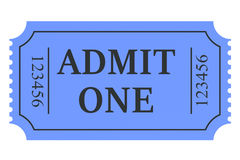 Ticket admit one. Isolated on white background Royalty Free Stock Images